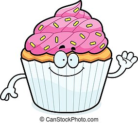 Cartoon Cupcake Waving