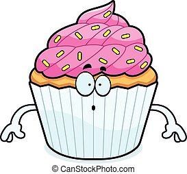 Surprised Cartoon Cupcake - A cartoon illustration of a...