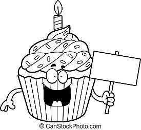 Cartoon Birthday Cupcake Sign