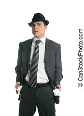 Businessman with no money in pants pockets isolated on white