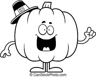 Cartoon Pumpkin Pilgrim Idea - A cartoon illustration of a...