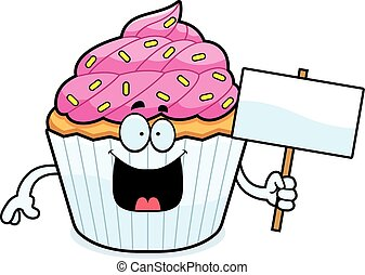 Cartoon Cupcake Sign