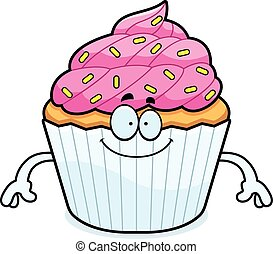 Happy Cartoon Cupcake - A cartoon illustration of a cupcake...