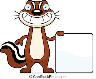 Cartoon Chipmunk Sign - A cartoon illustration of a chipmunk...