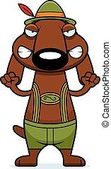Angry Cartoon Dachshund Lederhosen - A cartoon illustration...