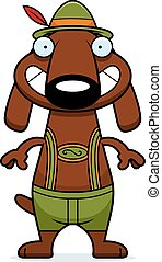Happy Cartoon Dachshund Lederhosen - A cartoon illustration...