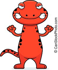 Angry Cartoon Salamander - A cartoon illustration of a...