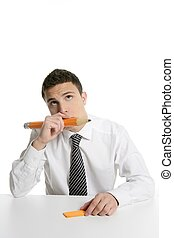 Young businessman student thinking with pencil