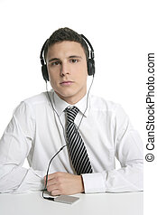 Businessman break in office music headphones isolated on...