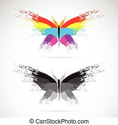 Vector image of butterfly on white background