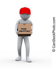 3d person free shipping parcel delivery