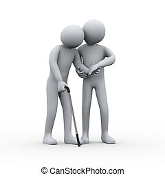 3d person helping old man - 3d illustration of man...