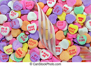 valentine's candy hearts - Pile of valentine candy hearts...