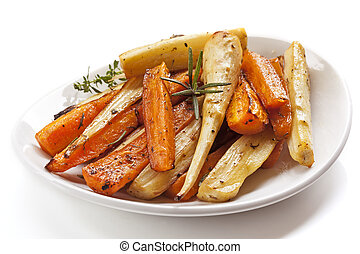 Roasted Root Vegetables in White Dish Isolated