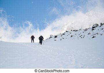 people in snow mountain