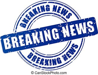 breaking news blue stamp - illustration of breaking news...