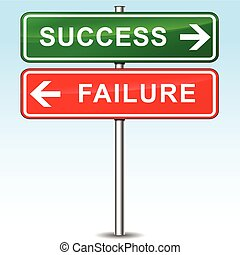 success and failure directional signs - illustration of...