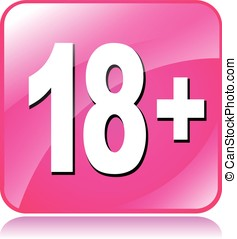 eighteen plus icon - illustration of pink square icon for...