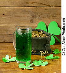 St Patricks Day green beer with shamrock and bag of gold...