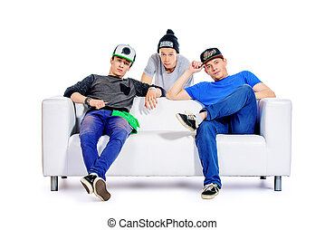 frienship sofa - Three guys friends spend time together...