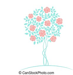 Rose tree logo - Rose garden tree logo isolated over white...
