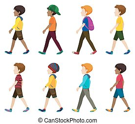 Faceless young men walking on a white background