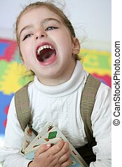 Beautiful little girl laugh happy at home - Beautiful little...