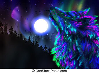 Howling Wolf Spirit - Colorful northern landscape with...