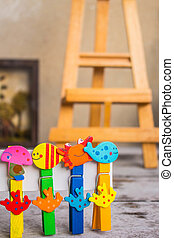 Colorful peg in a row