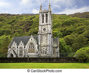 Gothic Church. Kylemore Abbey. National park Connemara in...