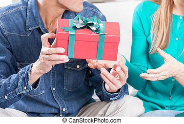 Exchanging gifts for Christmas. Holiday concept