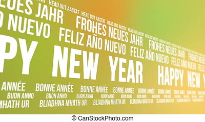 Happy New Year Scrolling Languages - Scrolling banner that...