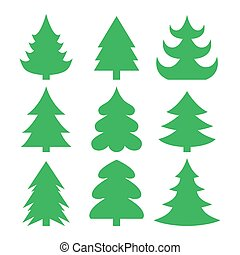 Christmas trees isolated on white background. Vector.