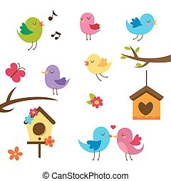 Cute birds. Design elements set. Birds, flowers and...