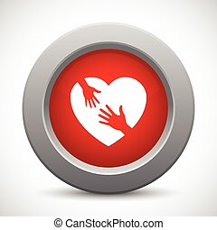 Caring hands red button