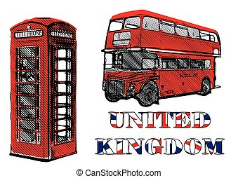 double decker and red telephone box vector illustrations
