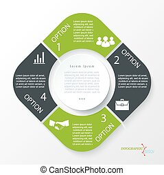 Business concept design with 4 segments. Infographic...
