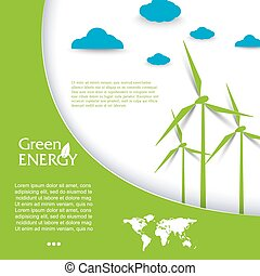 Vector brochure design with wind turbines, green energy concept.