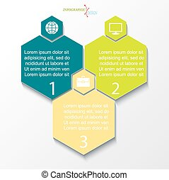 Business concept design with 3 options. Infographic template