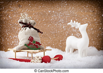 Christmas decor. - On snowy background christmas...