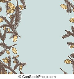 Fir pine cone seamless border, vector illustration. Use as a...