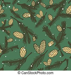 Fir pine cone seamless pattern, vector illustration