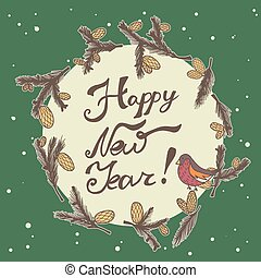 Fir cones Greeting card. Congratulations with new year and...