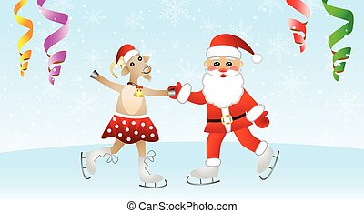 goat in a skirt and Santa claus - merry goat in a skirt and...