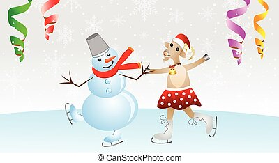 merry goat in a skirt and snow man on skates,vector...
