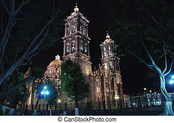 Puebla Cathedral at night - is a Roman Catholic colonial...
