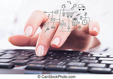 Shopping online - Close-up woman's hands using computer...