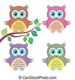 Colorful owls - Set of four cute funny colorful owls...
