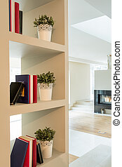 Bookcase in modern interior - Close-up of white bookcase in...
