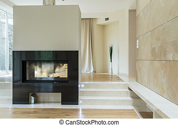Fireplace in luxury mansion - Close-up of fireplace in...